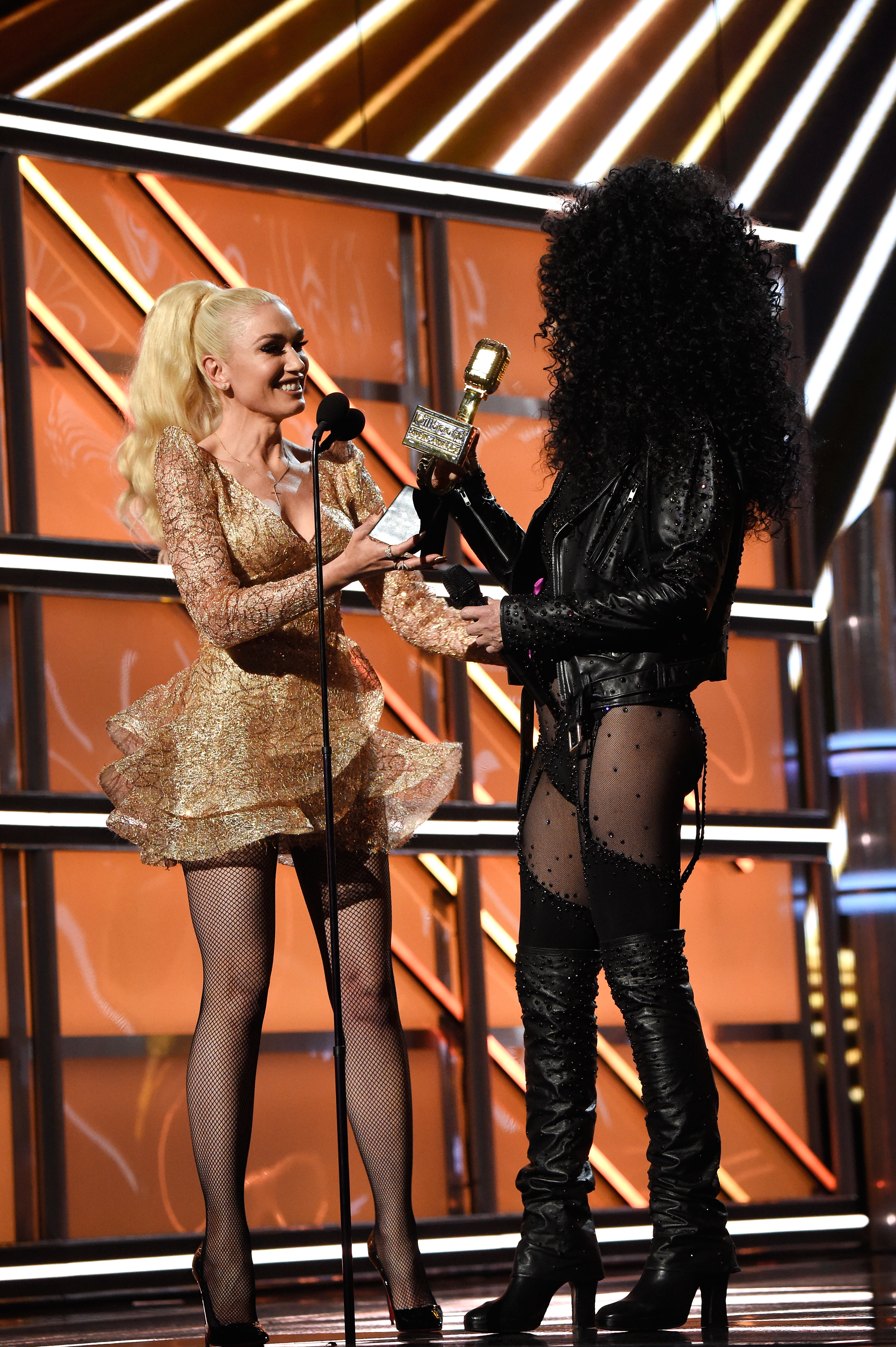 LAS VEGAS, NV - MAY 21: Recording artist Gwen Stefani (L) presents the Icon Award to honoree Cher onstage during the 2017 Billboard Music Awards at T-Mobile Arena on May 21, 2017 in Las Vegas, Nevada. (Photo by Kevin Mazur/BBMA2017/Getty Images for dcp)